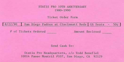 Ticket Order Form - SP78 10th Anniversary - 8/22/90