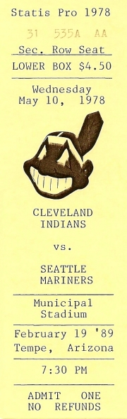 Ticket - Mariners vs Indians - 2/19/89