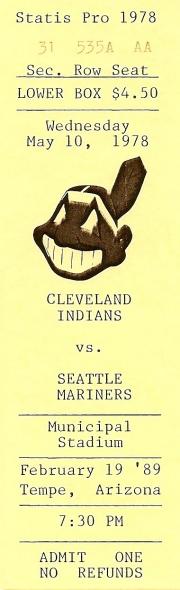 Ticket - Mariners vs Indians - 2/19/89