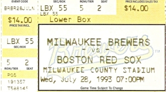 Chicago, 1993 - Brewers Ticket Stub