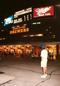 Todd Outside County Stadium After the Game - 7-28-93