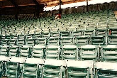 Todd Reads 'Baseball Weekly' at County Stadium - 7-28-93