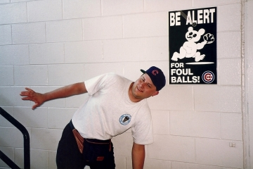 Chicago, 1993 - Steve and Foul Ball Sign