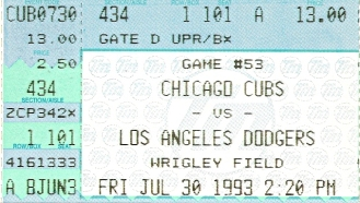 Ticket stub for the Cubs-Dodgers game at Wrigley Field - 7-30-93