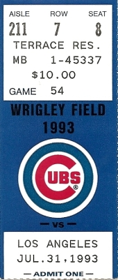 Cubs Ticket 7-31-93