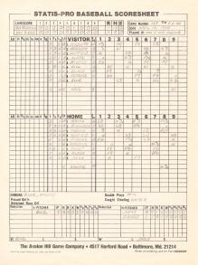 SP78 Game #107 Scoresheet - 7/2/84