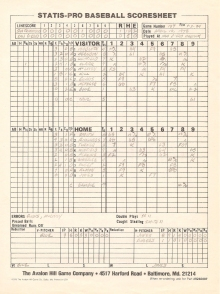 SP78 Game #107 Scoresheet - 7/2/84