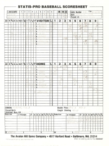 SP78 Scoresheet #110 - 8/15/84