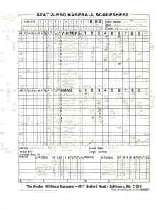 SP78 Game #132 Scoresheet - 10/5/85