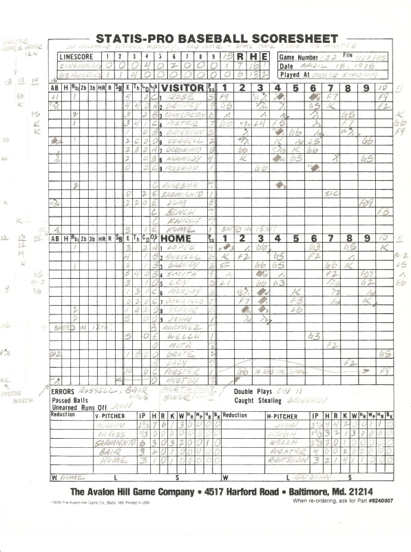 SP78 Game #132 Scoresheet - 10/2/85