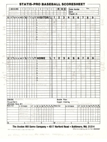 SP78 Game #181 Scoresheet - 7/15/87