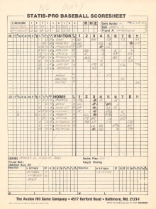 SP78 Scoresheet #51x - 6/28/81