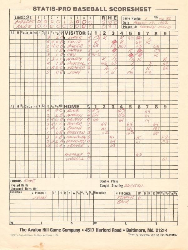 SP78 Game #OH82 Scoresheet - 8/14/82