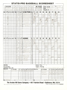 SP78 Game #162 Scoresheet - 9/2/86