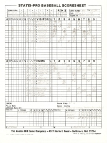SP78 Game #162 Scoresheet - 9/2/86