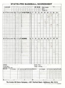 SP78 Game #110 Scoresheet - 8/15/84