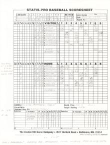 "SP78 Game #294 Scoresheet - ""Pete's 3,000th"" - 6/23/88"