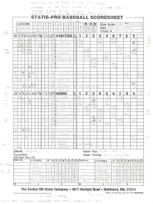 "SP78 Game #395 Scoresheet - ""First S2 Game"" - 3/9/88"