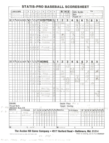 "SP78 Game #402 Scoresheet – ""Dad's First Game"" – 7/9/89"