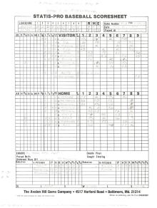 """SP78 Game #518 Scoresheet - """"Phil Mankowski Day"""" - 11/30/91"""