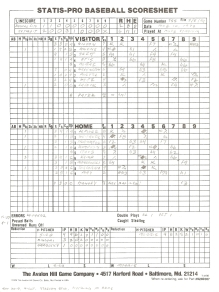 "SP78 Game #755 Scoresheet - ""Whitaker's Last Game"" - 9/5/94"