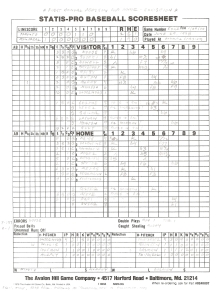 """SP78 Game #EXH2 Scoresheet - """"Pearson Cup Game"""" - 1/29/00"""