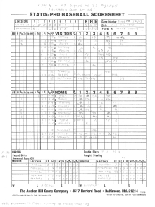"SP78 Game #EXH5 Scoresheet - ""Old-Timers Game at LA"" - 1/6/13"